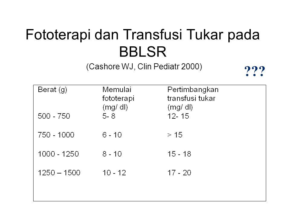 Fototerapi dan Transfusi Tukar pada BBLSR (Cashore WJ, Clin Pediatr 2000) ???