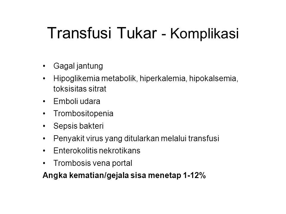 Gagal jantung Hipoglikemia metabolik, hiperkalemia, hipokalsemia, toksisitas sitrat Emboli udara Trombositopenia Sepsis bakteri Penyakit virus yang ditularkan melalui transfusi Enterokolitis nekrotikans Trombosis vena portal Angka kematian/gejala sisa menetap 1-12% Transfusi Tukar - Komplikasi