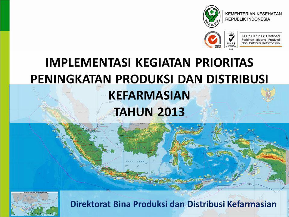 IMPLEMENTASI KEGIATAN PRIORITAS PENINGKATAN PRODUKSI DAN DISTRIBUSI KEFARMASIAN TAHUN 2013 Direktorat Bina Produksi dan Distribusi Kefarmasian