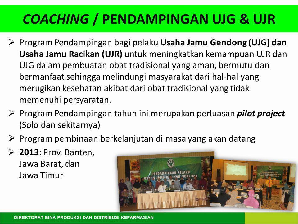  Program Pendampingan bagi pelaku Usaha Jamu Gendong (UJG) dan Usaha Jamu Racikan (UJR) untuk meningkatkan kemampuan UJR dan UJG dalam pembuatan obat tradisional yang aman, bermutu dan bermanfaat sehingga melindungi masyarakat dari hal-hal yang merugikan kesehatan akibat dari obat tradisional yang tidak memenuhi persyaratan.