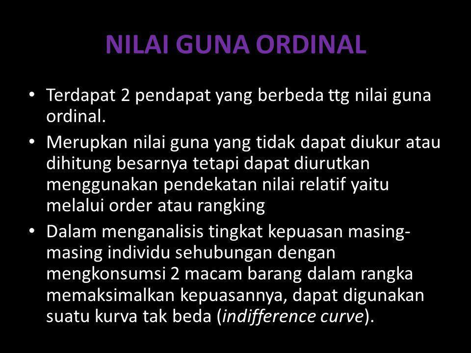 NILAI GUNA ORDINAL Terdapat 2 pendapat yang berbeda ttg nilai guna ordinal. Merupkan nilai guna yang tidak dapat diukur atau dihitung besarnya tetapi