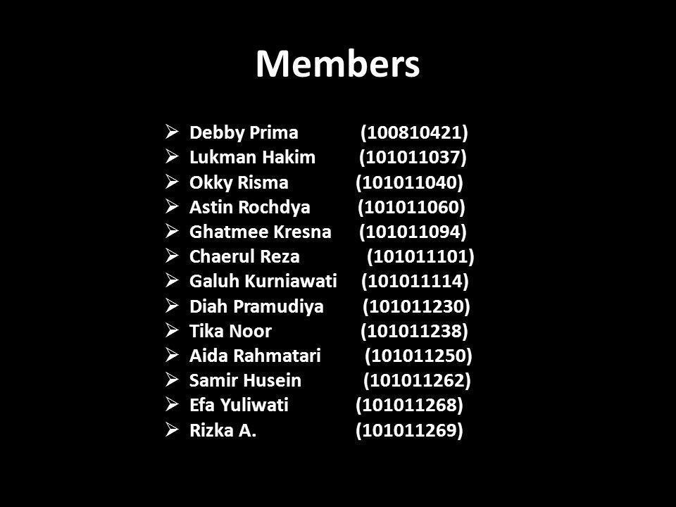 Members  Debby Prima (100810421)  Lukman Hakim (101011037)  Okky Risma (101011040)  Astin Rochdya (101011060)  Ghatmee Kresna (101011094)  Chaer