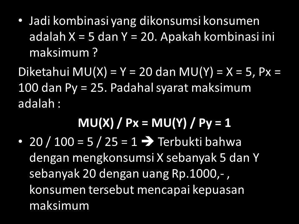 Jadi kombinasi yang dikonsumsi konsumen adalah X = 5 dan Y = 20. Apakah kombinasi ini maksimum ? Diketahui MU(X) = Y = 20 dan MU(Y) = X = 5, Px = 100
