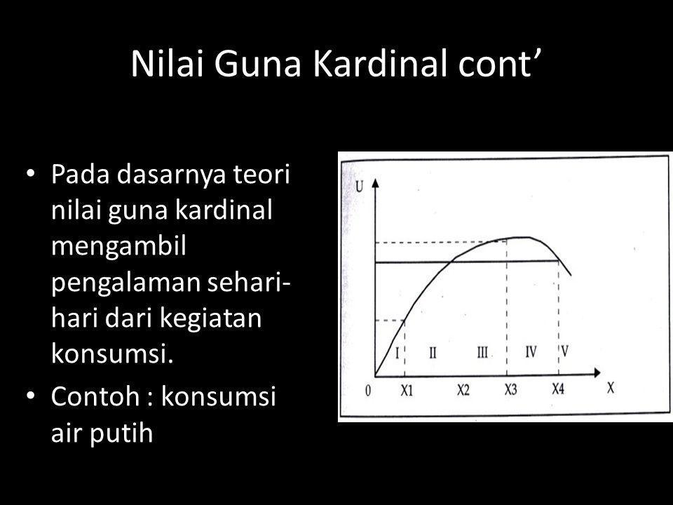 Nilai Guna Kardinal cont' Pada dasarnya teori nilai guna kardinal mengambil pengalaman sehari- hari dari kegiatan konsumsi. Contoh : konsumsi air puti