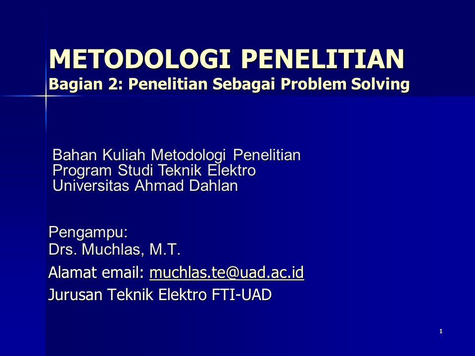 Sub Pokok Bahasan Hakekat Masalah Penelitian Hakekat Masalah Penelitian Pendekatan Penyelesaian Masalah Pendekatan Penyelesaian Masalah 2