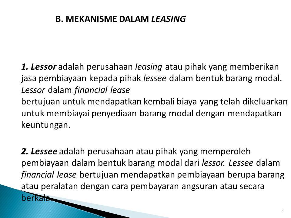 4 B. MEKANISME DALAM LEASING 1. Lessor adalah perusahaan leasing atau pihak yang memberikan jasa pembiayaan kepada pihak lessee dalam bentuk barang mo