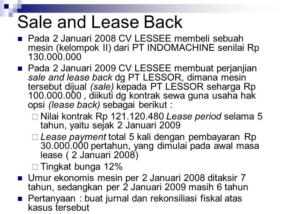 Sale and Lease Back Pada 2 Januari 2008 CV LESSEE membeli sebuah mesin (kelompok II) dari PT INDOMACHINE senilai Rp 130.000.000 Pada 2 Januari 2009 CV