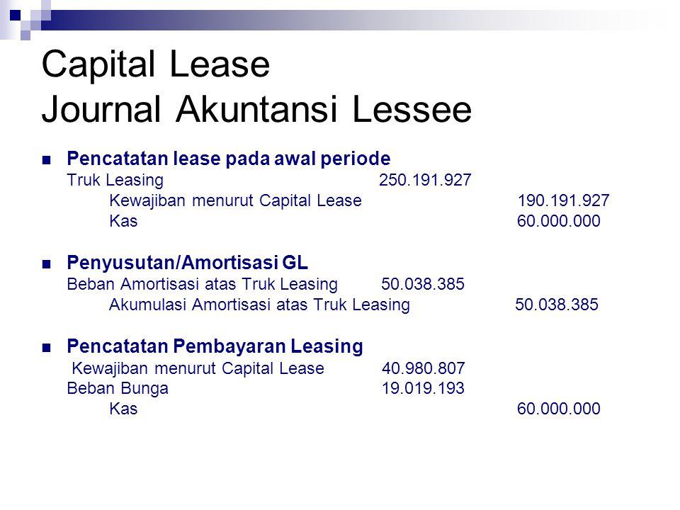 Capital Lease Journal Akuntansi Lessor Pencatatan lease pada awal periode Kas 60.000.000 Piutang Pembayaran Leasing240.000.000 Truk yg dibeli untuk Leasing250.191.927 Pendapatan bunga diterima dimuka 49.808.073 Pencatatan Pembayaran Leasing Kas60.000.000 Piutang Pembayaran Leasing60.000.000 Pencatatan Pendapatan Bunga Pendapatan bunga diterima dimuka 19.019.192 Pendapatan bunga19.019.192
