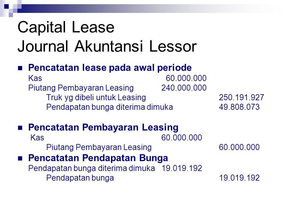 Capital Lease Journal Akuntansi Lessor Pencatatan lease pada awal periode Kas 60.000.000 Piutang Pembayaran Leasing240.000.000 Truk yg dibeli untuk Le