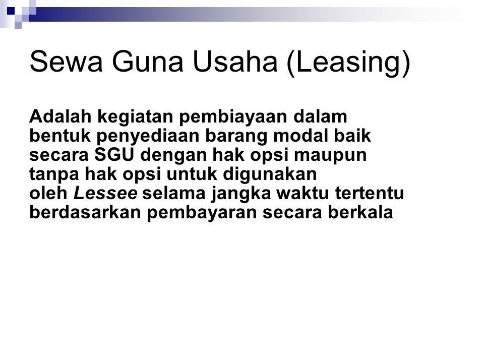 Unsur SGU (Leasing) Unsur-unsur SGU Lessor Lessee Barang Modal Perjanjian SGU Badan Badan/OP AT Berwujud Dgn syarat tertentu