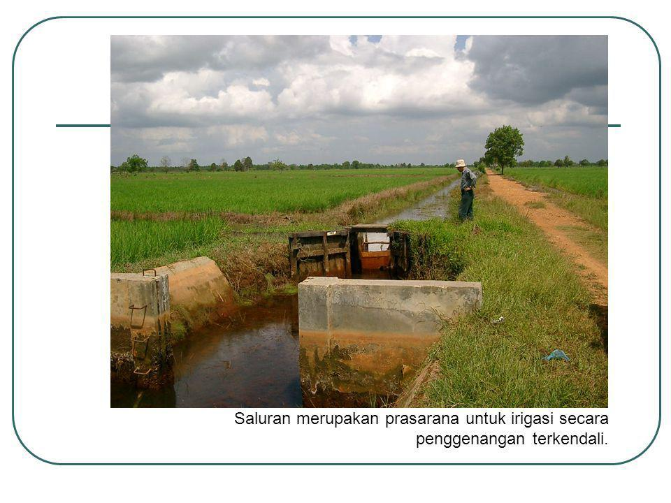 Saluran merupakan prasarana untuk irigasi secara penggenangan terkendali.