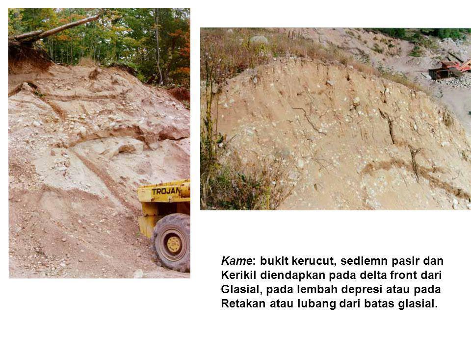 Kame: bukit kerucut, sediemn pasir dan Kerikil diendapkan pada delta front dari Glasial, pada lembah depresi atau pada Retakan atau lubang dari batas