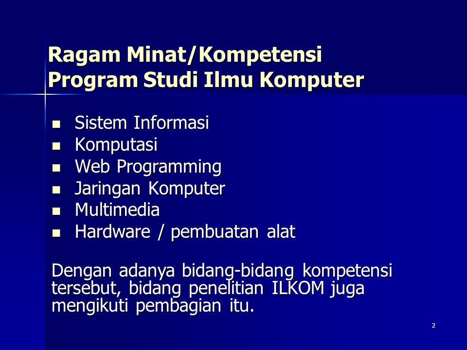 2 Ragam Minat/Kompetensi Program Studi Ilmu Komputer Sistem Informasi Sistem Informasi Komputasi Komputasi Web Programming Web Programming Jaringan Ko