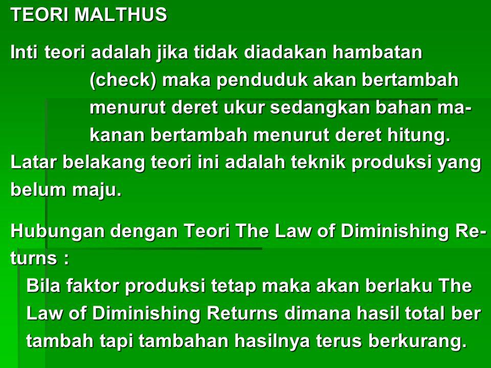 TEORI MALTHUS TEORI MALTHUS Inti teori adalah jika tidak diadakan hambatan Inti teori adalah jika tidak diadakan hambatan (check) maka penduduk akan b
