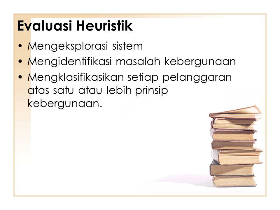 Evaluasi Heuristik Mengeksplorasi sistem Mengidentifikasi masalah kebergunaan Mengklasifikasikan setiap pelanggaran atas satu atau lebih prinsip kebergunaan.