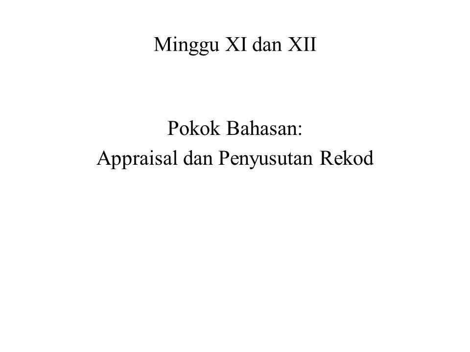 Minggu XI dan XII Pokok Bahasan: Appraisal dan Penyusutan Rekod