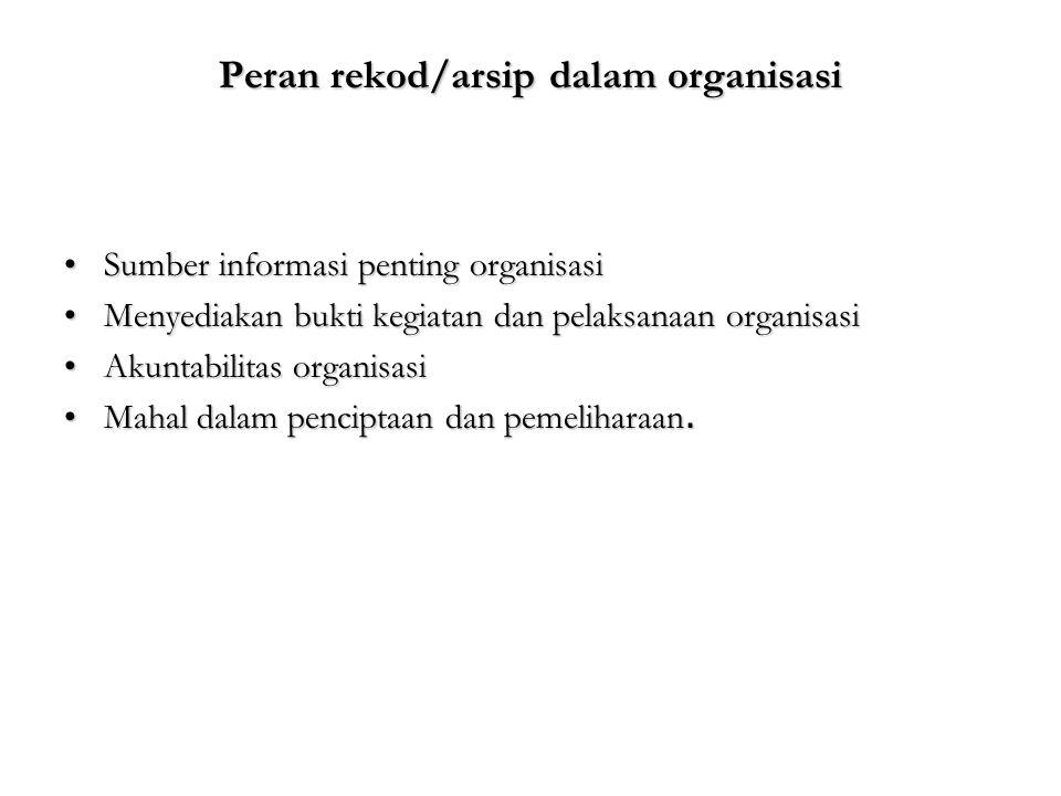 Peran rekod/arsip dalam organisasi Sumber informasi penting organisasiSumber informasi penting organisasi Menyediakan bukti kegiatan dan pelaksanaan o