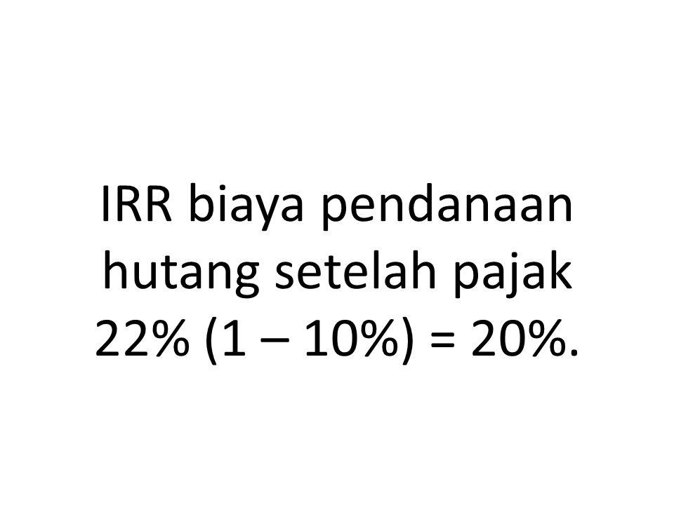 IRR biaya pendanaan hutang setelah pajak 22% (1 – 10%) = 20%.