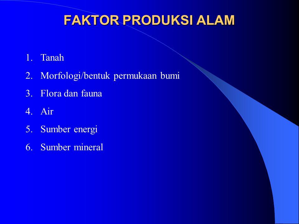FAKTOR PRODUKSI ALAM 1.Tanah 2.Morfologi/bentuk permukaan bumi 3.Flora dan fauna 4.Air 5.Sumber energi 6.Sumber mineral