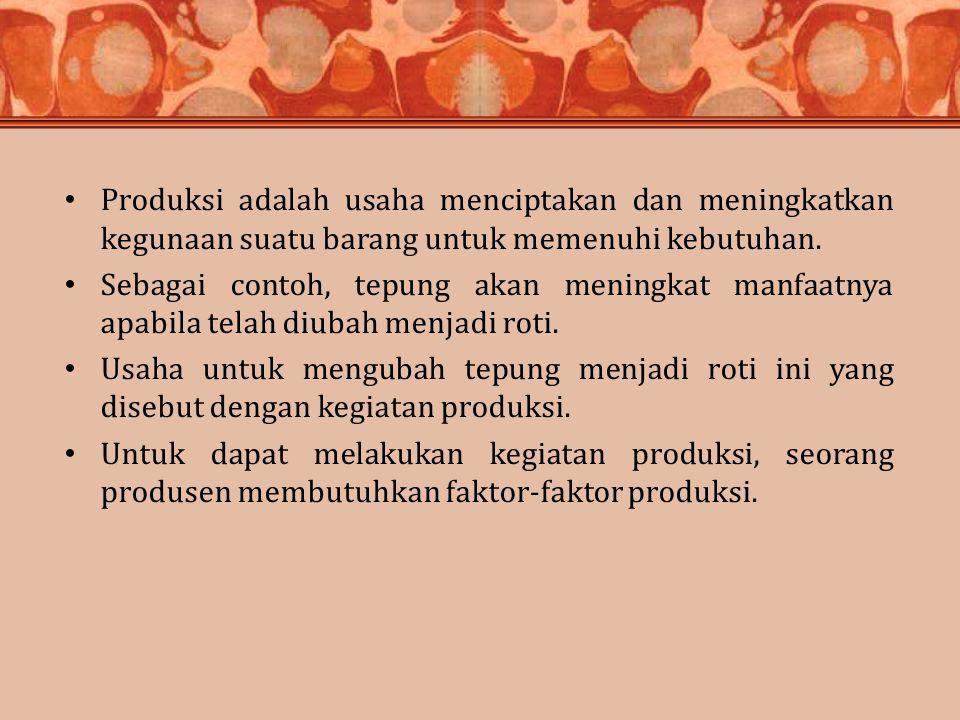 Produksi adalah usaha menciptakan dan meningkatkan kegunaan suatu barang untuk memenuhi kebutuhan. Sebagai contoh, tepung akan meningkat manfaatnya ap