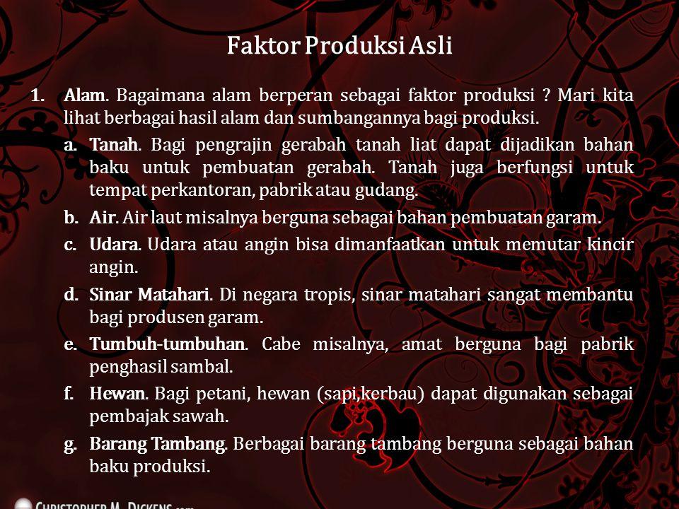 Faktor Produksi Asli 1.Alam. Bagaimana alam berperan sebagai faktor produksi ? Mari kita lihat berbagai hasil alam dan sumbangannya bagi produksi. a.T