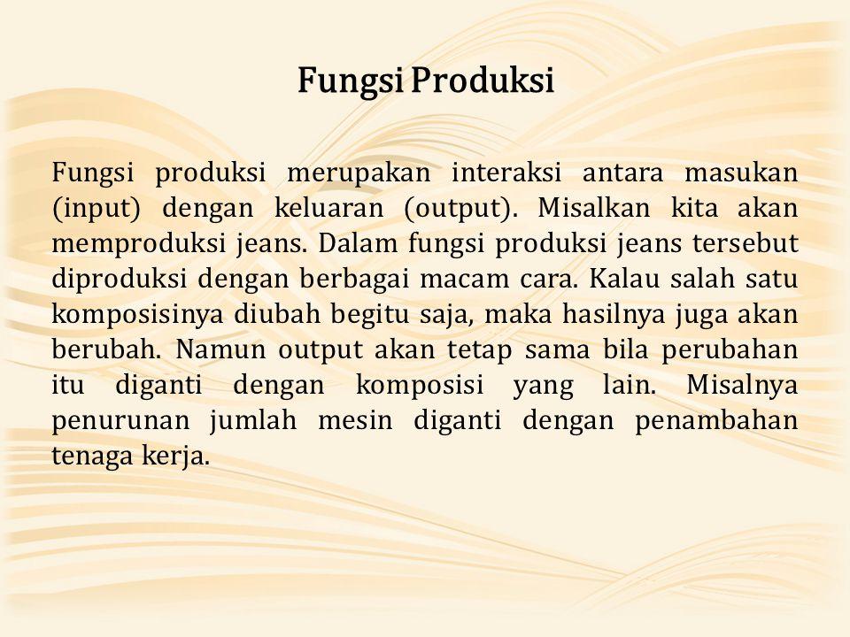 Fungsi Produksi Fungsi produksi merupakan interaksi antara masukan (input) dengan keluaran (output). Misalkan kita akan memproduksi jeans. Dalam fungs
