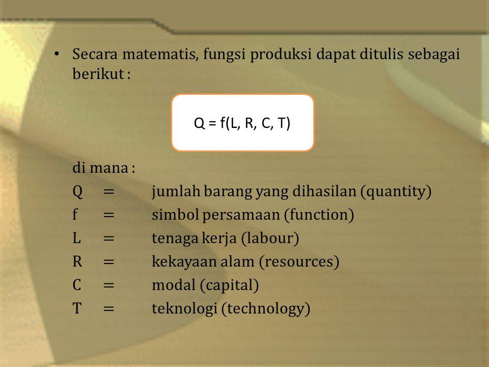 Secara matematis, fungsi produksi dapat ditulis sebagai berikut : di mana : Q=jumlah barang yang dihasilan (quantity) f =simbol persamaan (function) L