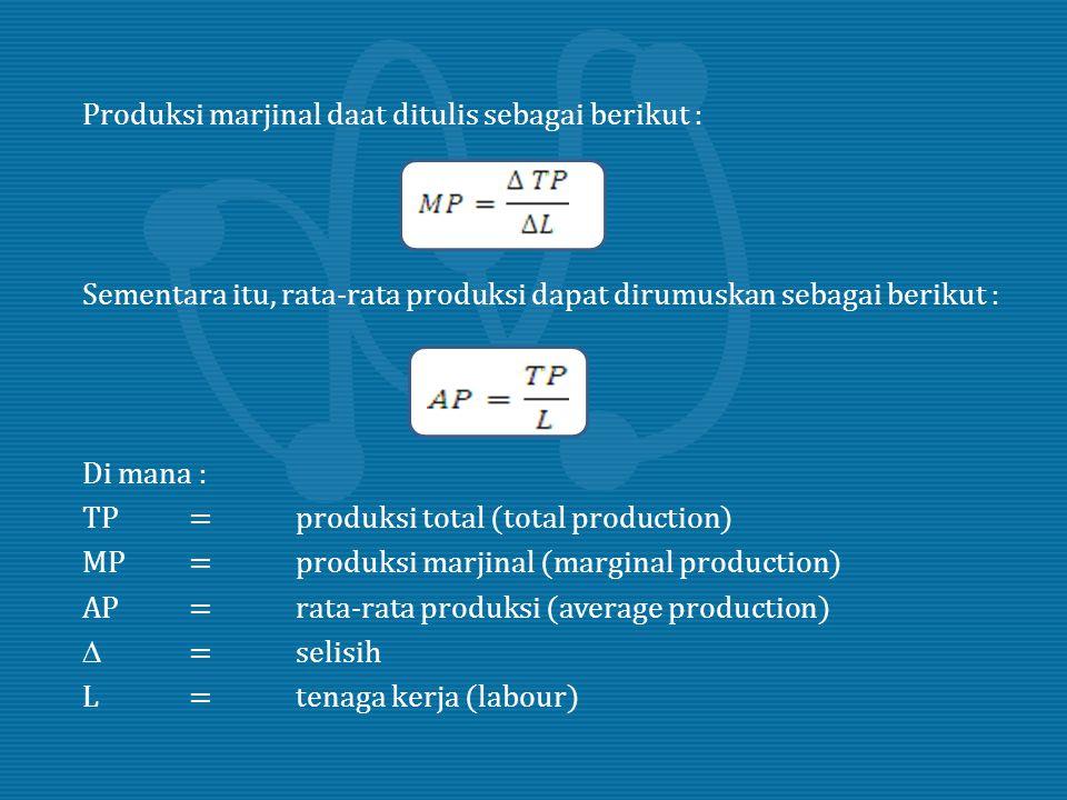 Produksi marjinal daat ditulis sebagai berikut : Sementara itu, rata-rata produksi dapat dirumuskan sebagai berikut : Di mana : TP=produksi total (tot