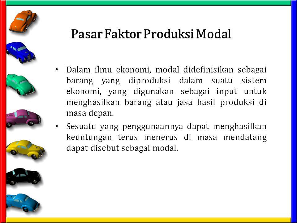 Pasar Faktor Produksi Modal Dalam ilmu ekonomi, modal didefinisikan sebagai barang yang diproduksi dalam suatu sistem ekonomi, yang digunakan sebagai