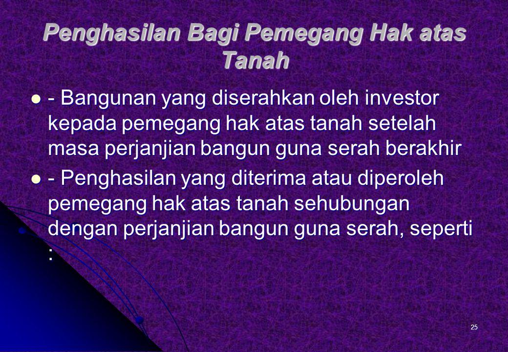Pembayaran berkala yang dilakukan oleh investor kepada pemegang hak atas tanah selama masa perjanjian.