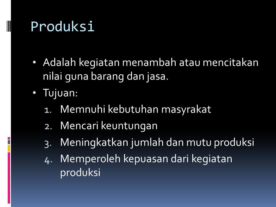Produksi Adalah kegiatan menambah atau mencitakan nilai guna barang dan jasa. Tujuan: 1. Memnuhi kebutuhan masyrakat 2. Mencari keuntungan 3. Meningka
