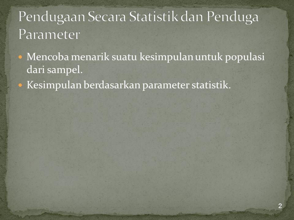 Parameter statistik populasi seperti rata-rata (  ) dan simpangan baku (  ) sering tidak diketahui.