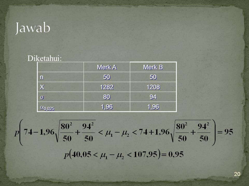 20 Diketahui: Merk A Merk B n5050 X12821208 8094  0,025 1,961,96