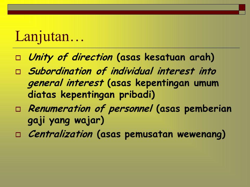 Azas Manajemen (Henry Fayol) Division of work ( azas pembagian kerja) Authority & responsibility (azas wewenng dan tanggung jawab) Discipline (azas di