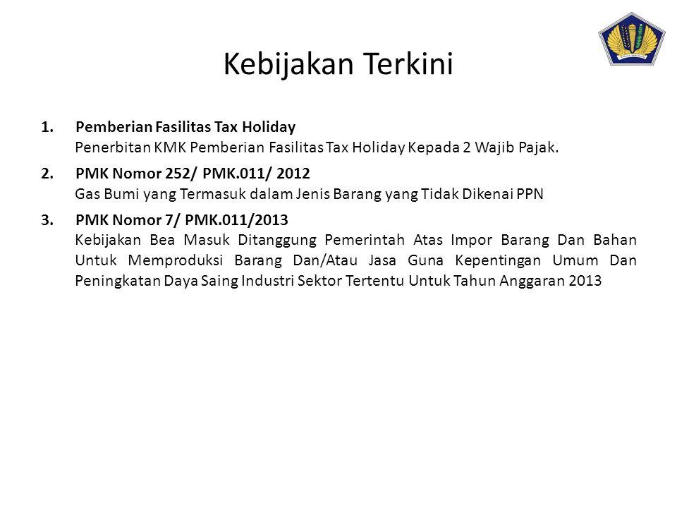 Kebijakan Terkini 1.Pemberian Fasilitas Tax Holiday Penerbitan KMK Pemberian Fasilitas Tax Holiday Kepada 2 Wajib Pajak. 2.PMK Nomor 252/ PMK.011/ 201