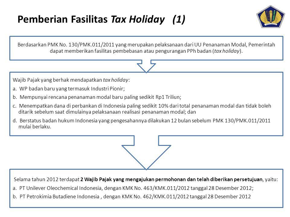 Pemberian Fasilitas Tax Holiday (1) Selama tahun 2012 terdapat 2 Wajib Pajak yang mengajukan permohonan dan telah diberikan persetujuan, yaitu: a. PT