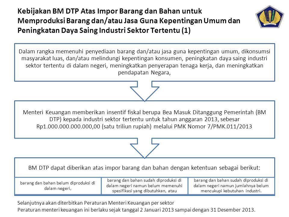 BM DTP dapat diberikan atas impor barang dan bahan dengan ketentuan sebagai berikut: barang dan bahan belum diproduksi di dalam negeri, barang dan bah