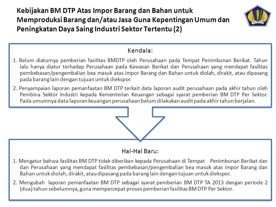 Hal-Hal Baru: 1. Mengatur bahwa fasilitas BM DTP tidak diberikan kepada Perusahaan di Tempat Penimbunan Berikat dan dan Perusahaan yang mendapat fasil