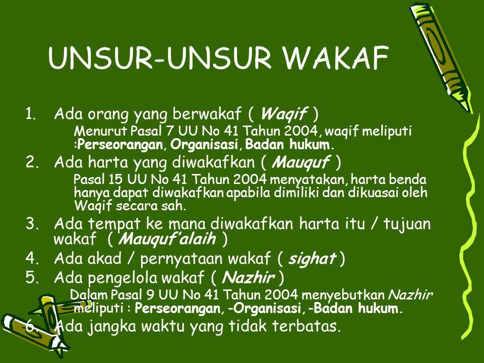 UNSUR-UNSUR WAKAF 1.Ada orang yang berwakaf ( Waqif ) Menurut Pasal 7 UU No 41 Tahun 2004, waqif meliputi :Perseorangan, Organisasi, Badan hukum.