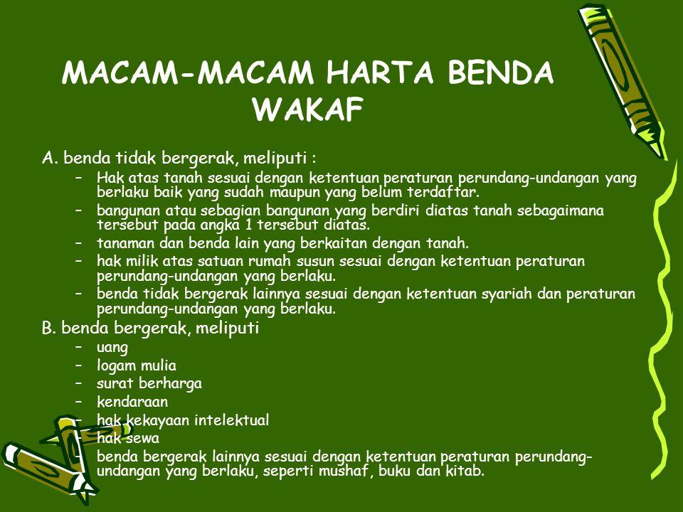 MACAM-MACAM HARTA BENDA WAKAF A.