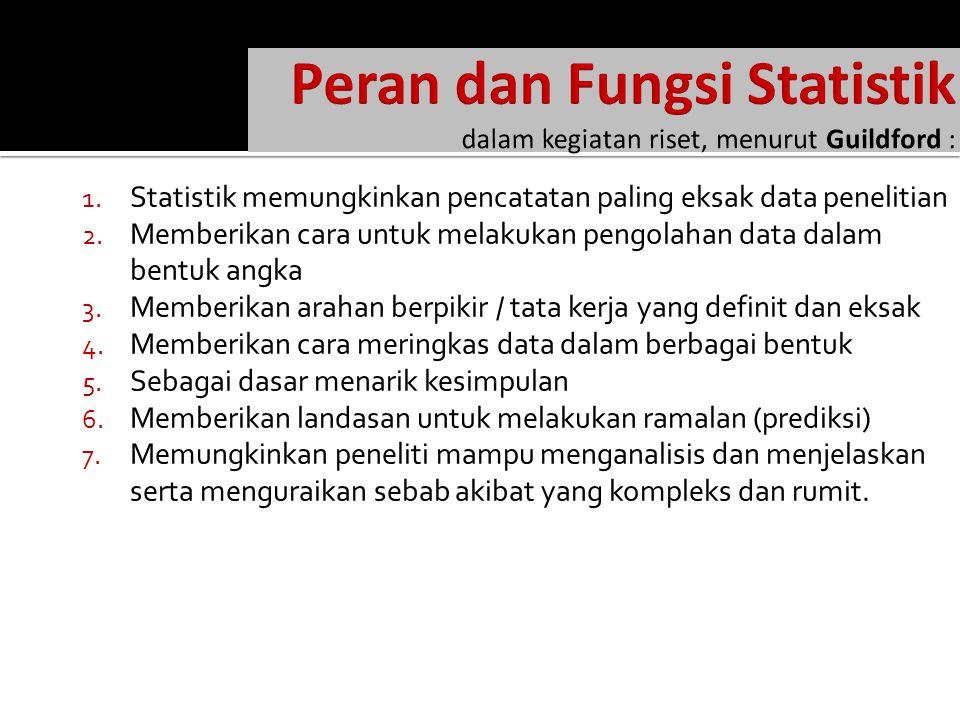 1.Statistik memungkinkan pencatatan paling eksak data penelitian 2.