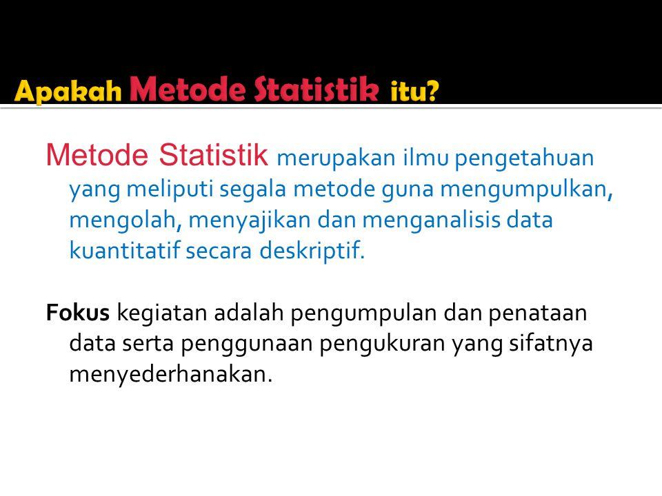 Metode Statistik merupakan ilmu pengetahuan yang meliputi segala metode guna mengumpulkan, mengolah, menyajikan dan menganalisis data kuantitatif secara deskriptif.