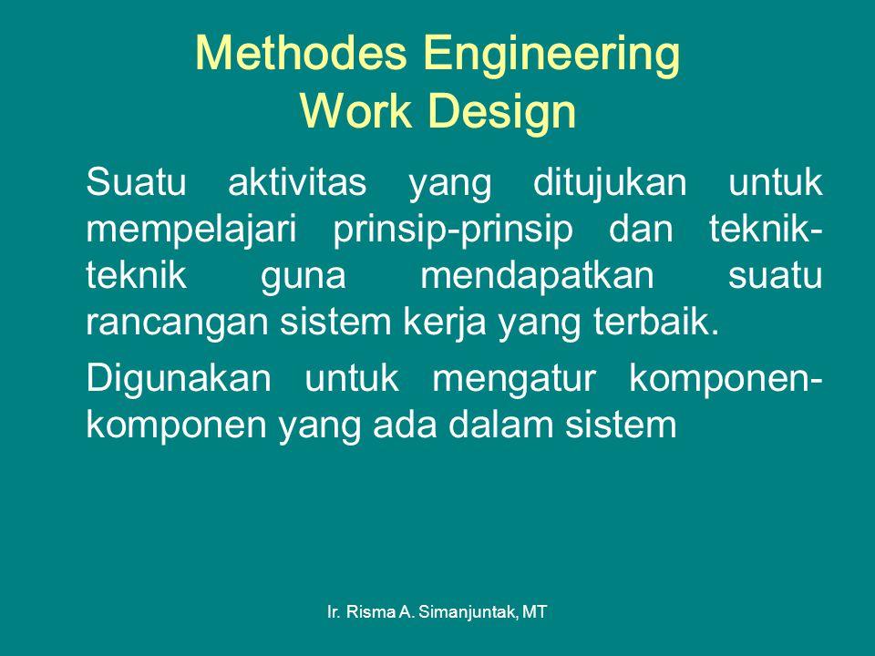 Ir. Risma A. Simanjuntak, MT Methodes Engineering Work Design Suatu aktivitas yang ditujukan untuk mempelajari prinsip-prinsip dan teknik- teknik guna