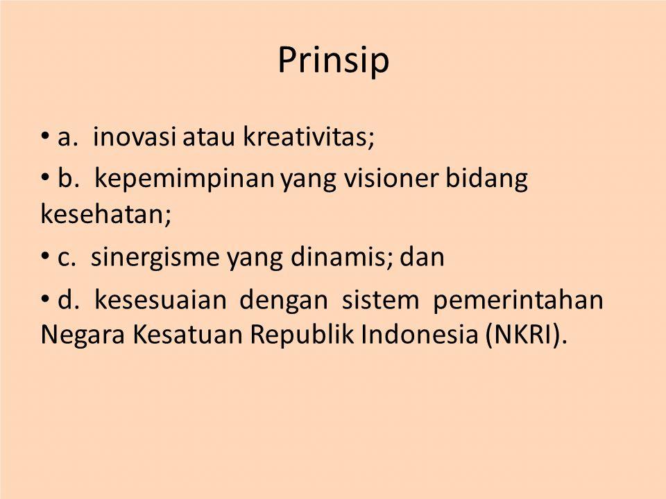 Prinsip a. inovasi atau kreativitas; b. kepemimpinan yang visioner bidang kesehatan; c. sinergisme yang dinamis; dan d. kesesuaian dengan sistem pemer