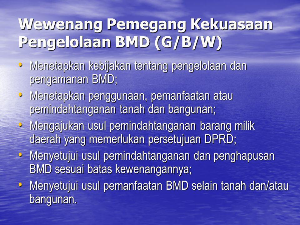 Wewenang Pemegang Kekuasaan Pengelolaan BMD (G/B/W) Menetapkan kebijakan tentang pengelolaan dan pengamanan BMD; Menetapkan kebijakan tentang pengelol