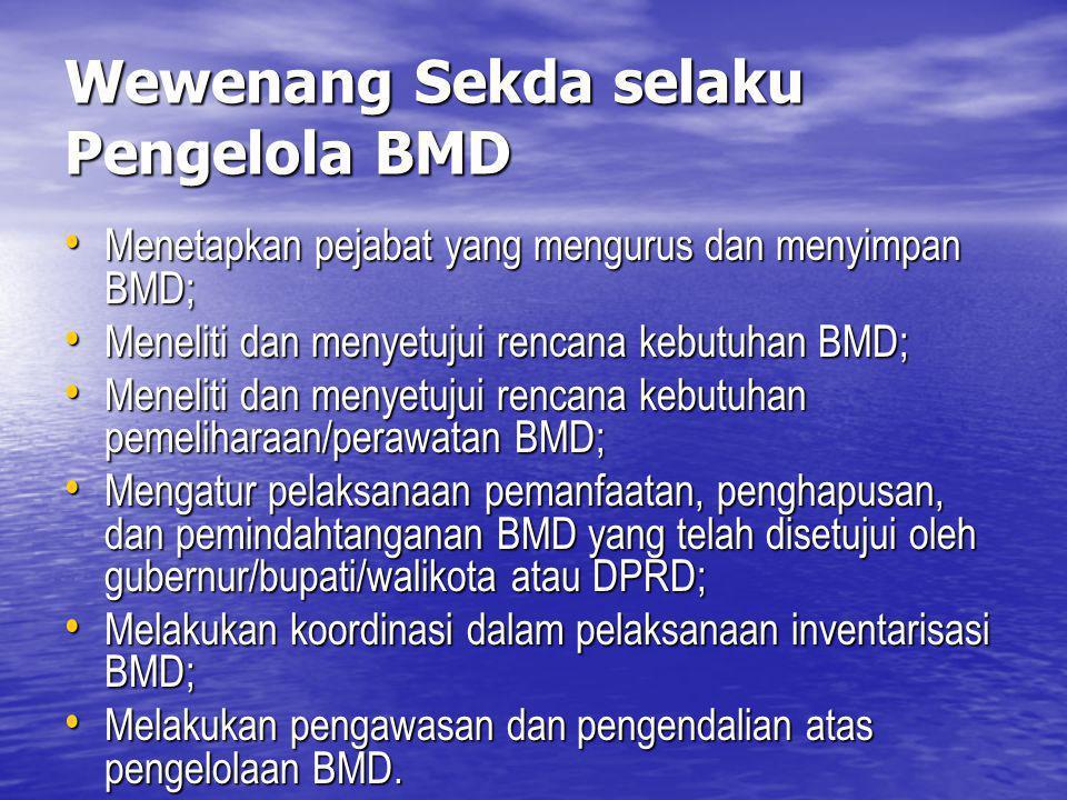 Wewenang Sekda selaku Pengelola BMD Menetapkan pejabat yang mengurus dan menyimpan BMD; Menetapkan pejabat yang mengurus dan menyimpan BMD; Meneliti d
