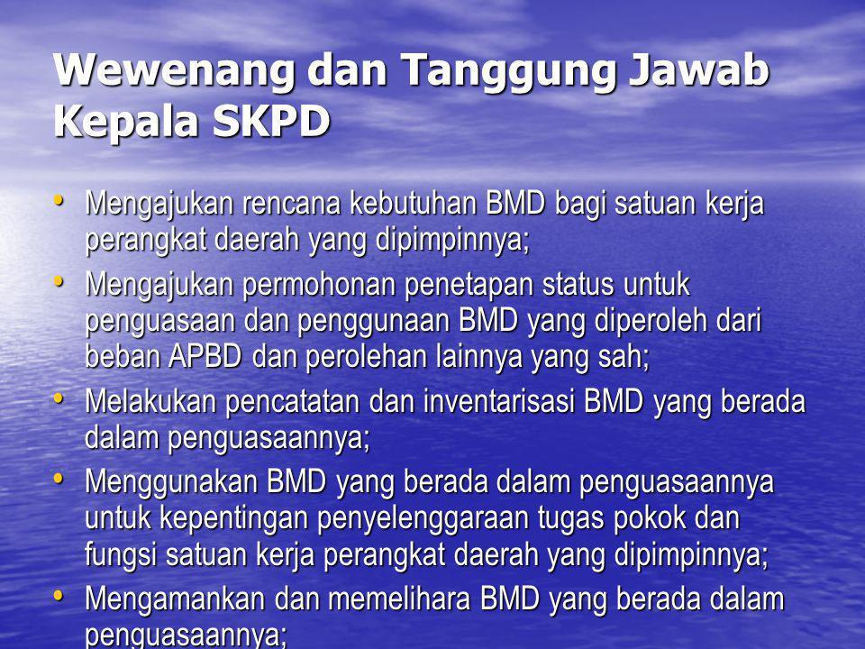Wewenang dan Tanggung Jawab Kepala SKPD Mengajukan rencana kebutuhan BMD bagi satuan kerja perangkat daerah yang dipimpinnya; Mengajukan rencana kebut