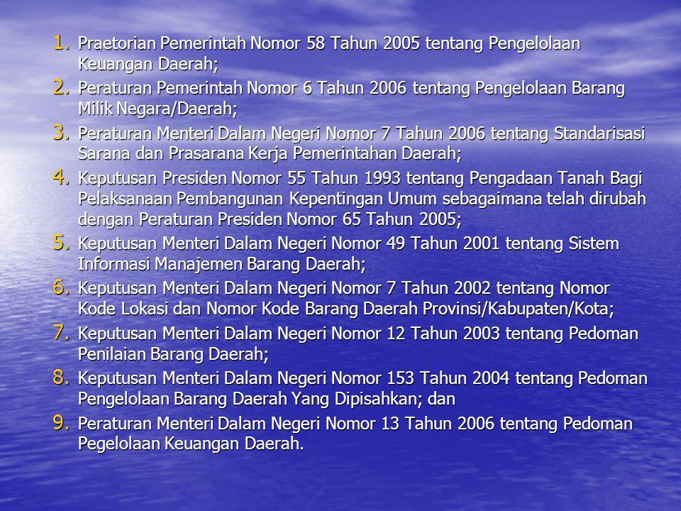 1. Praetorian Pemerintah Nomor 58 Tahun 2005 tentang Pengelolaan Keuangan Daerah; 2. Peraturan Pemerintah Nomor 6 Tahun 2006 tentang Pengelolaan Baran