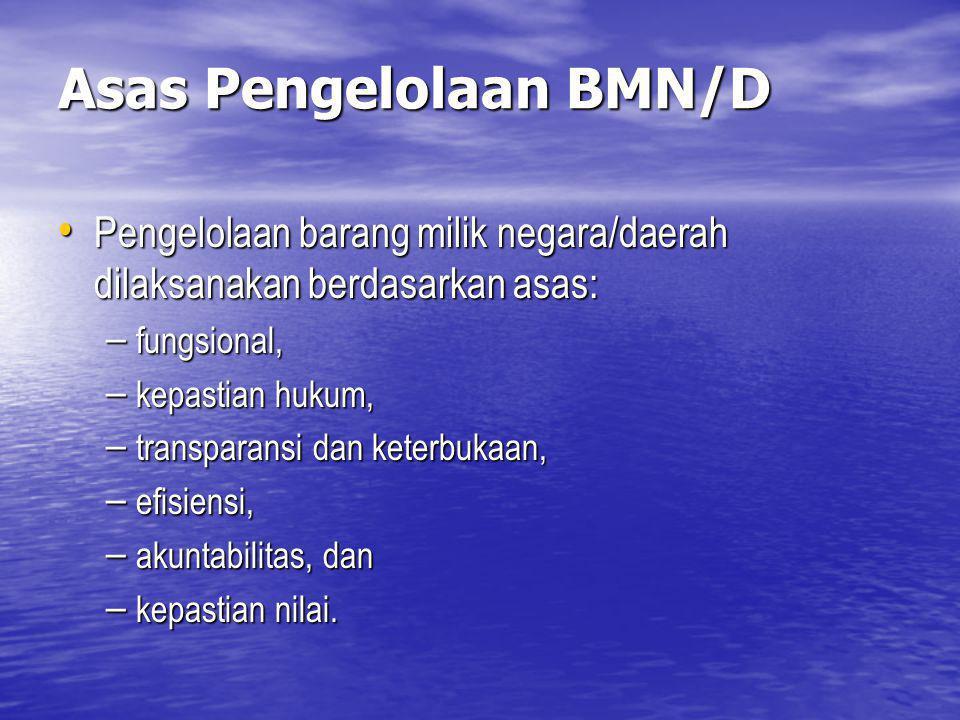 Asas Pengelolaan BMN/D Pengelolaan barang milik negara/daerah dilaksanakan berdasarkan asas: Pengelolaan barang milik negara/daerah dilaksanakan berda