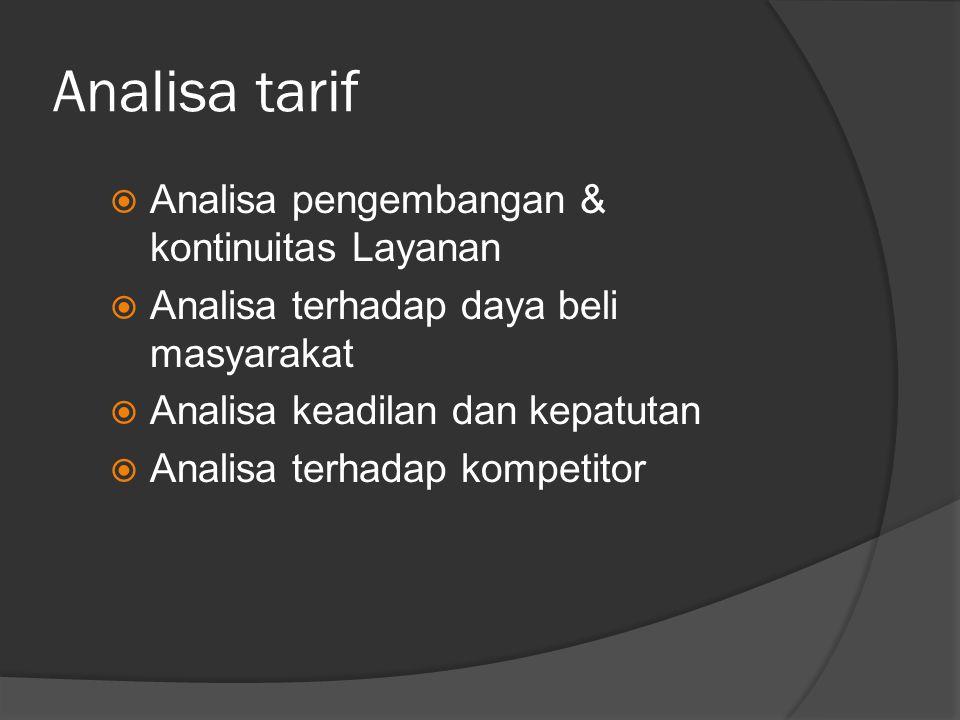 Analisa tarif  Analisa pengembangan & kontinuitas Layanan  Analisa terhadap daya beli masyarakat  Analisa keadilan dan kepatutan  Analisa terhadap kompetitor